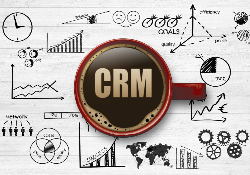 CRM graphic with coffee cup.